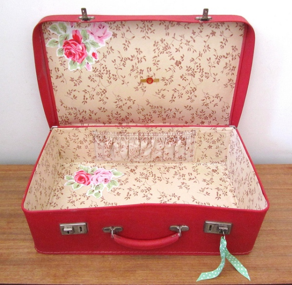 Cherry-red vintage suitcase